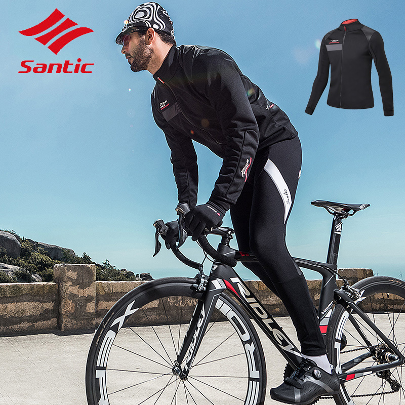 Santic Autumn Winter Men Fleece Windproof Long Sleeve Cycling Jacket Ciclismo Breathable Road Bike Jacket Shirt ClothesSantic Autumn Winter Men Fleece Windproof Long Sleeve Cycling Jacket Ciclismo Breathable Road Bike Jacket Shirt Clothes