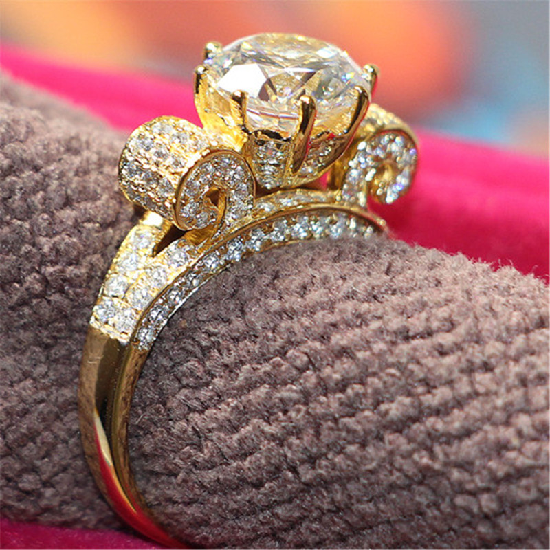 3 Carat Vintage Luxury High Quality Diamond Engagement Ring Genuine 925 Sterling Silver Ring White Gold