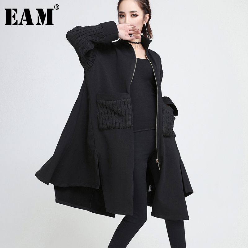 [EAM] 2018 New Autumn Hooded Sleeve Black Irregular Knitting Split Joint Loose Solid Color Jacket Women Coat Fashion Tide JE199