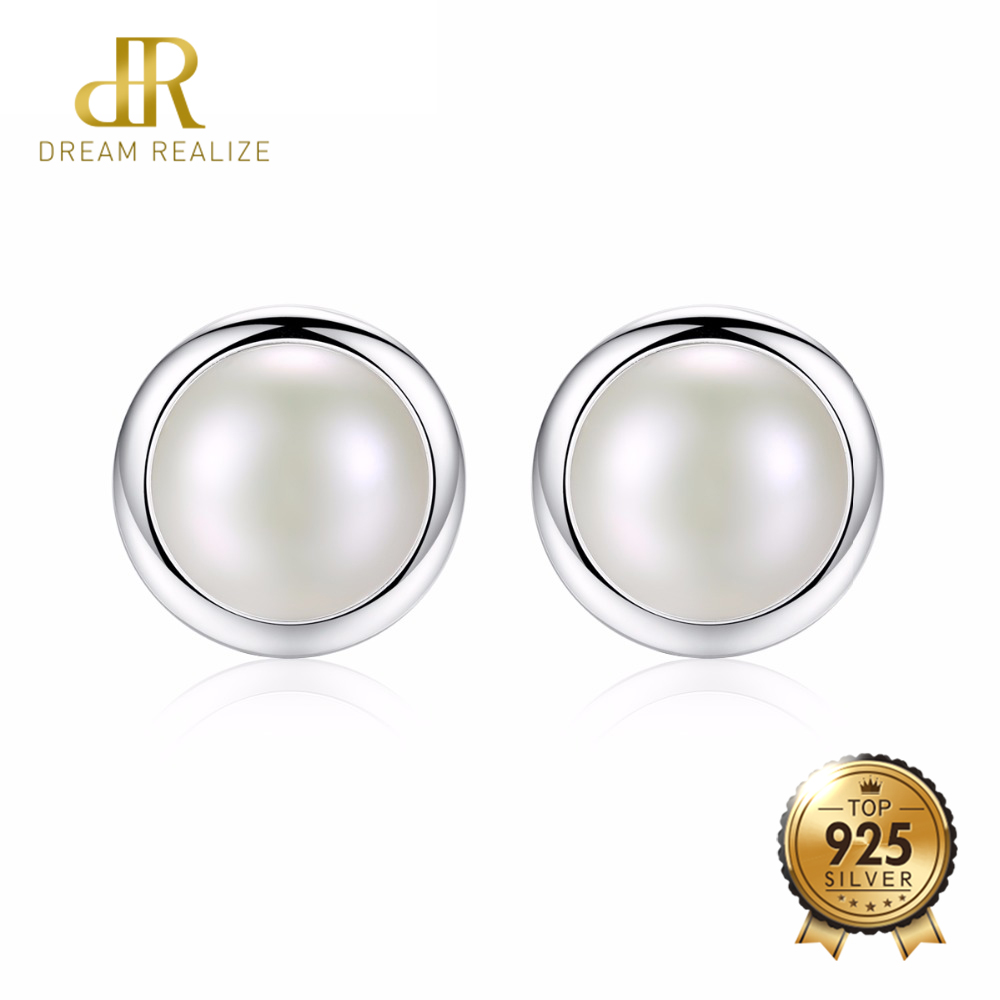 DR Fashion Brand Jewelry 925 Sterling Silver Real Big White Freshwater Pearl Stud Earrings for Women Party Wedding Accessories