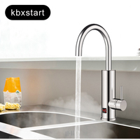 Kitchen Stainless Steel Electric Water Heater Hot Water Heater Tap Instant Water Heating Faucet With Temperature Display 220V