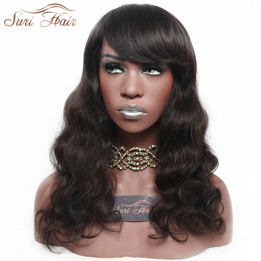 Suri Hair 2 Body Wave African American Synthetic Wigs With Bangs Heat Resistant Brown Long Women