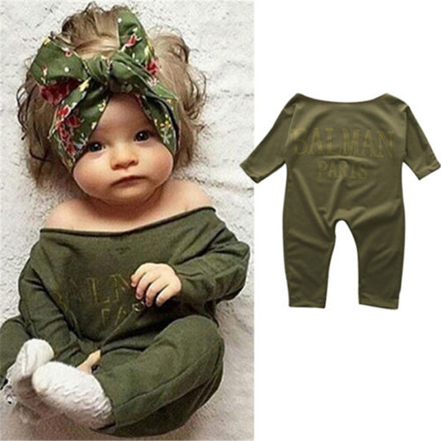 12907016c1bc1 US $3.7 20% OFF|Newborn Toddler Cute Baby Girl Clothes Long Sleeve Cotton  Warm Olive Romper Jumpsuit Pullover Lovely Clothing Outfits-in Rompers from  ...