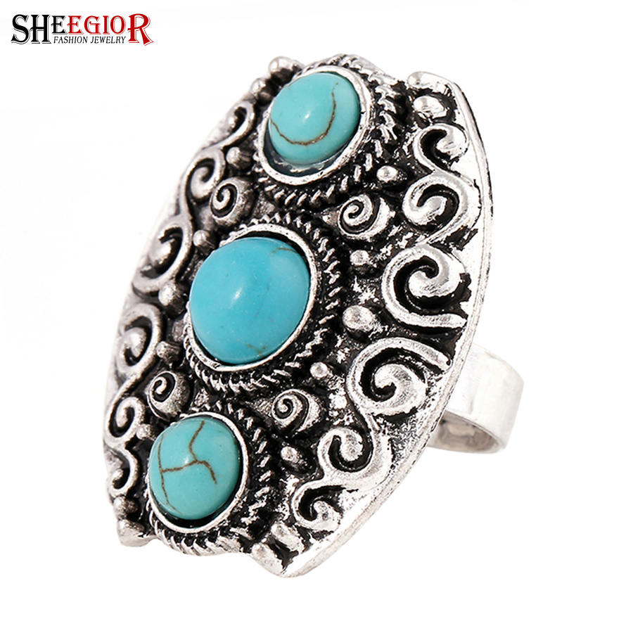 SHEEGIOR Vintage Turquoises Big Rings for Women Bague Femme Boho Ethnic Retro Silver Lon ...