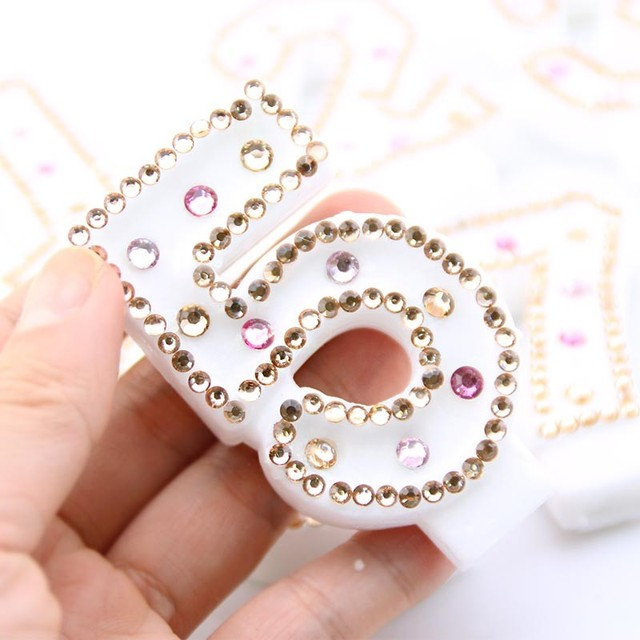 Hand Made Diamond Candle Gold Color Numbers Birthday With Rhinestone Child Party Cake