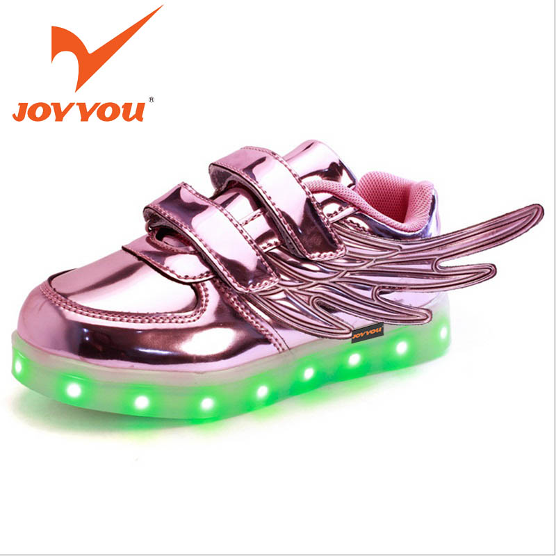 JOYYOU Brand USB Children Boys Girls Glowing Luminous Sneakers Kids Shoes With Light Up Led illuminated School Footwear Teenage luminous glowing sneakers children kids led shoes breathable zapatos shining children usb charging kids led shoes 50z0005