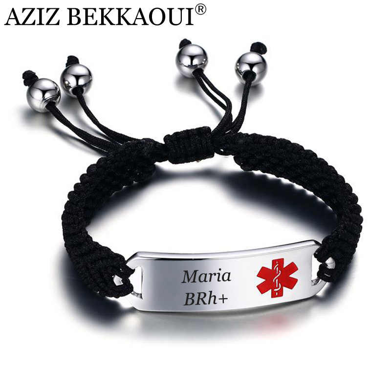 AZIZ BEKKAOUI Engraving Medic Tag Black Braided Leather Medical Alert Bracelet DIABETES Rope Chain Stainless Steel Bracelets
