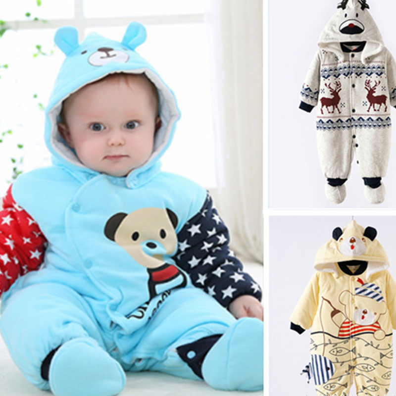 Baby Kids Cartoon Winter Hooded Romper Cute Windproof Comfortable Coveralls Baby Walking Sport Pure Cotton Jacket