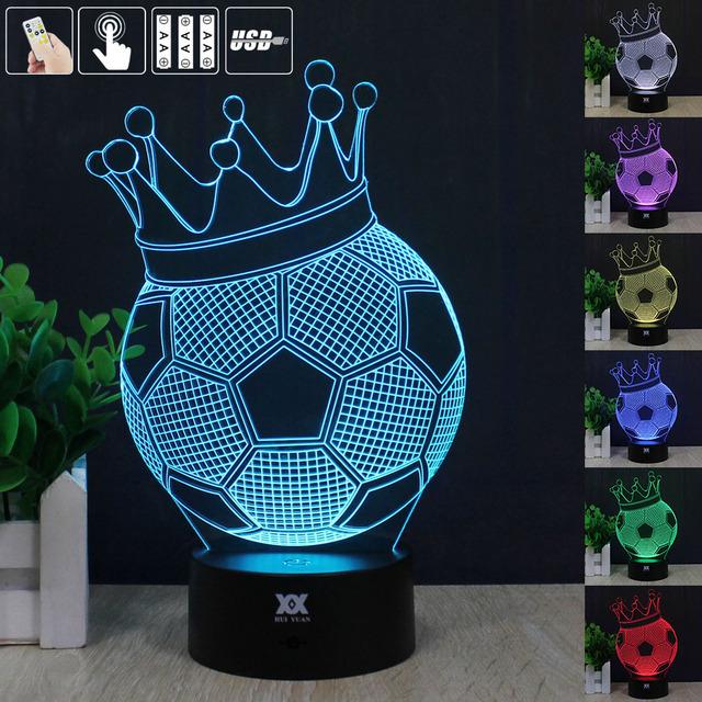 Fútbol Una Corona de Luz Nocturna en 3D RGB Cambiable Mood Lamp LED decorativa lámpara de mesa de luz dc 5 v usb conseguir un free remote control