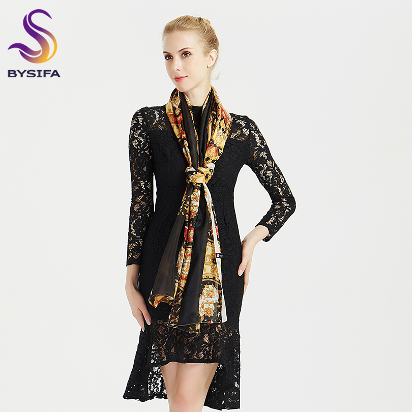 BYSIFA 2018 Winter Luxury Brand 100 Silk Scarf Shawl Women Fashion Black Gold Long Scarves Wraps Summer Beach Shawl 200 110cm in Women 39 s Scarves from Apparel Accessories