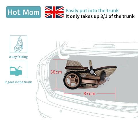 100usd Coupon! 2019 original Hot Mom High Landscape Luxury 3 in 1 baby stroller Newborn carriage folding shock baby pram 0-3 Lahore