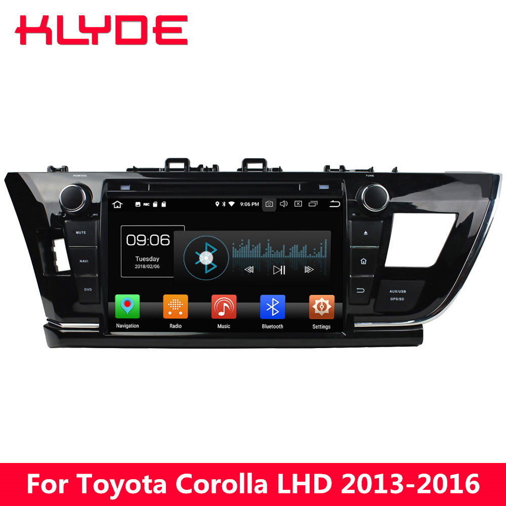 KLYDE 9 4G WIFI Octa Core PX5 Android 8.0 4GB RAM 32GB ROM Car DVD Player Radio GPS Navigation For Toyota Corolla 2013-2016 LHD