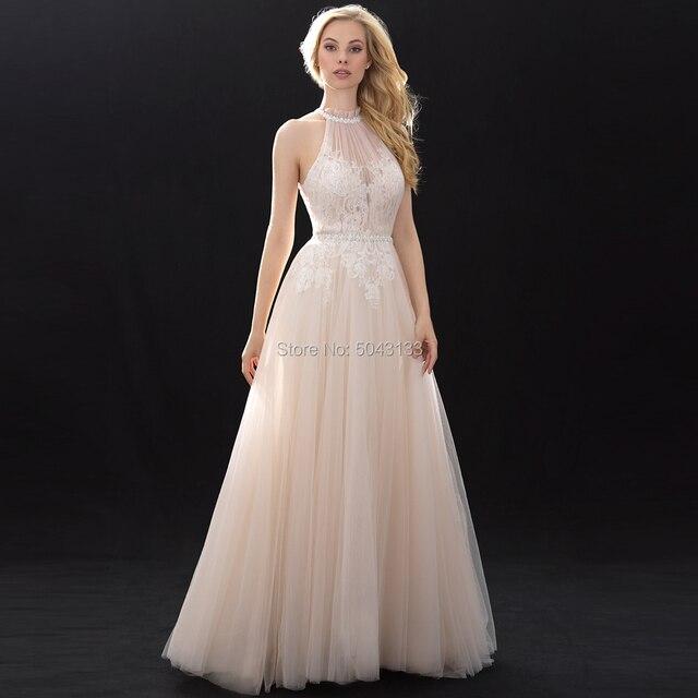 Halter High Neckline Lace Tulle Wedding Dresses Beaded Sash 2020 Off Shoulder Floor length Bridal Gowns Champagne Wedding Dress