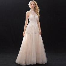 Halter Hohe Ausschnitt Spitze Tüll Brautkleider Perlen Schärpe 2020 Off Schulter bodenlangen Brautkleider Champagner Hochzeit Kleid