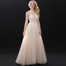 Halter cuello alto de encaje de tul vestidos de boda con cuentas Sash 2020 de hombro de longitud del piso vestidos de novia Champagne vestido de boda