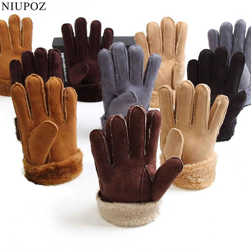 2017 Winter Thick Faux Wool Sheepskin Gloves Mittens Fashion Unisex Wind Suede Leather Fur Women Men Warmer Cycling Gloves G127