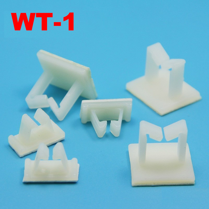 24pcs WT-1 21x18.5 21*18.5mm White Nylon Plastic Self Adhesive Computer Case Wire Cable Fixed Tie Mount Clamp Clip