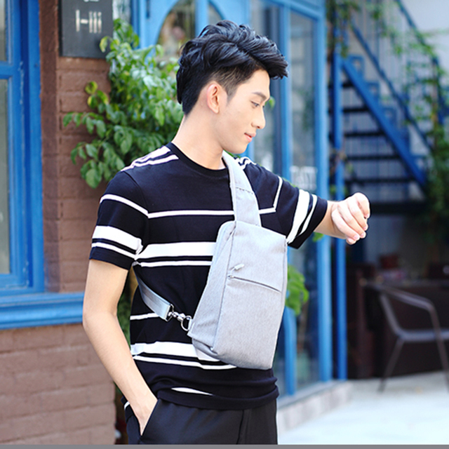 OSOCE Chest Bag Men Gray Shoulder Bags Polyester Waterproof Male Mini  Crossbody Bag Man Small Messenger Bag Men ad64e8714ff8