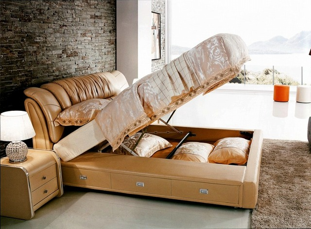 Gas Lift Storage Contemporary Genuine Leather Bed Modern Bedroom Furniture  Made In China