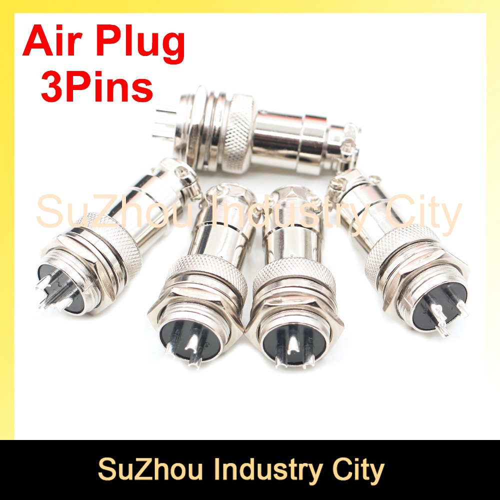 Free shipping ! 5pcs Small Air Plug Male & Female plug Diameter 16mm <font><b>GX16</b></font> <font><b>3pins</b></font> core cable connector High Quality! image