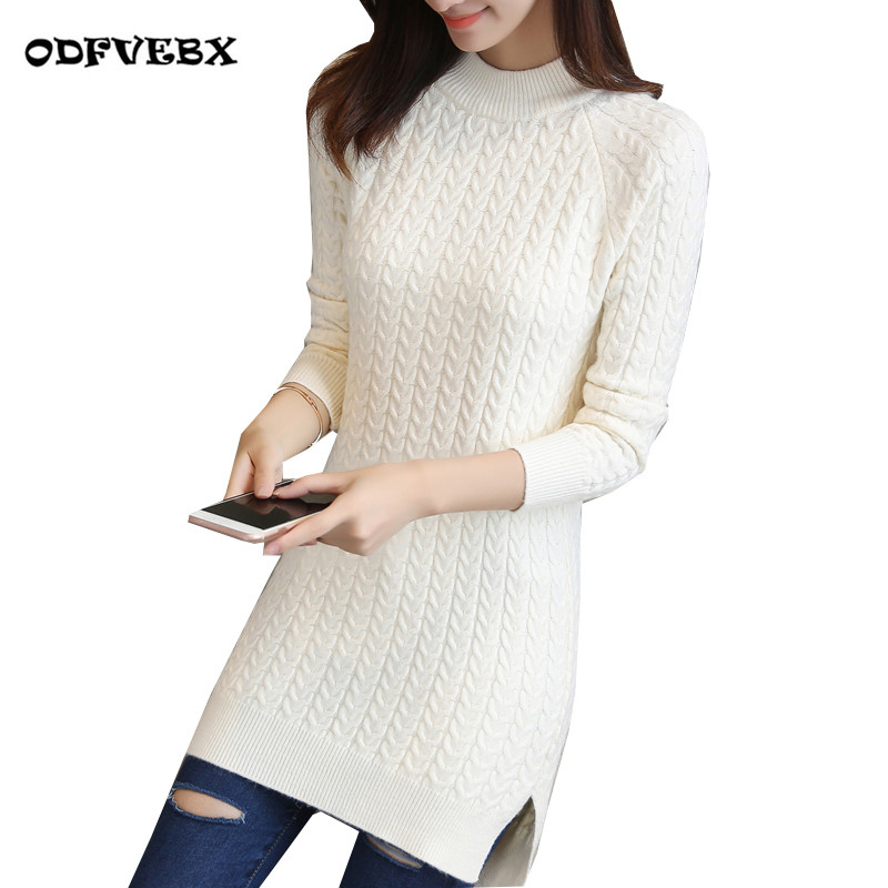 Medium long pullover sweater female spring new loose bag hip bottoming Tops ladies solid color split