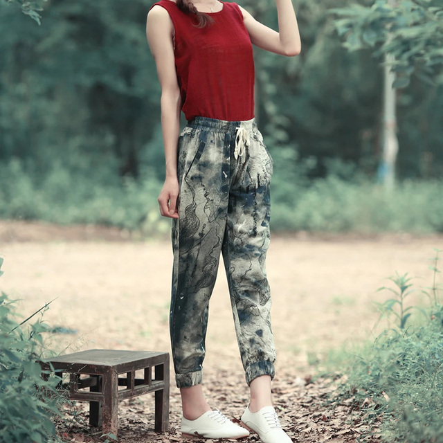2017 Elastic Waist Trousers Female Floral Pants Women Cotton Linen Pants Casual Trousers Harem Pantalones Mujer Pockets ZI201