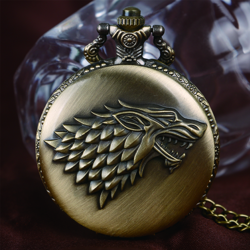 2016 Hot Awesome Stark House Mark Majesty Quartz Pocket Watch Clock Cool Bronze Necklace Xmas Gift Pendant Chain For Men Women antique retro bronze car truck pattern quartz pocket watch necklace pendant gift with chain for men and women gift