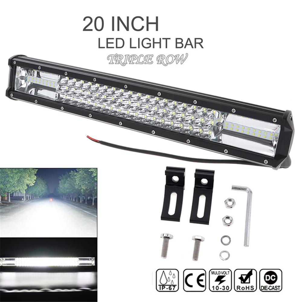 7D 20 '' 540W Car LED Worklight Bar Triple Row Spot Flood Combo Offroad Light Driving Lamp for Truck SUV 4X4 4WD ATV tripcraft 108w led work light bar 6500k spot flood combo beam car light for offroad 4x4 truck suv atv 4wd driving lamp fog lamp