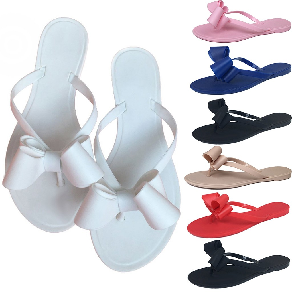 Ladies Fashion Solid Colors Flats Bottom Sandals Women's Clip Toe Butterfly-knot Shoes Jelly Beach Casual Comfortable Slides