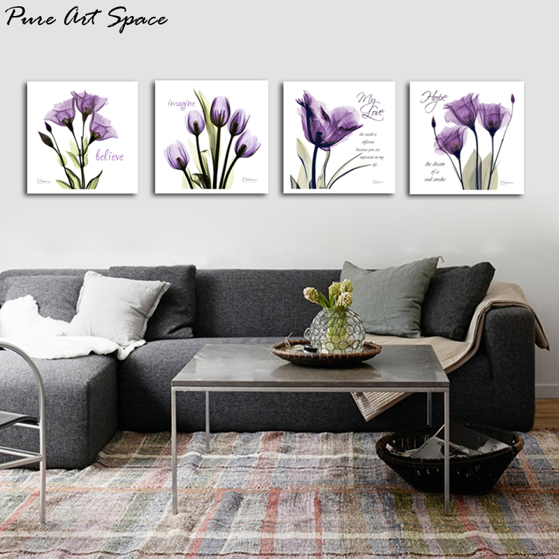 4 Piece Canvas Wall Art Print Tulip Decorative Pictures