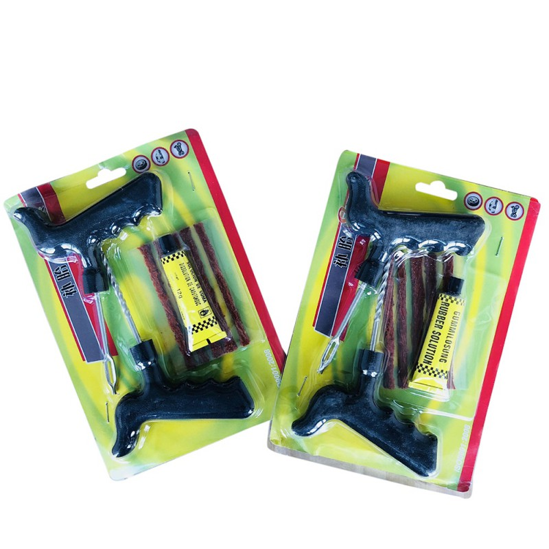 8 Pcs Large Car Emergency Tire Repair Kit Tubeless Tire Tyre Puncture Plug Repair Tools Kits Bicycle Rubber Cement For Auto New
