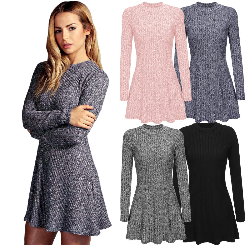 Fashion Women Autumn Winter Dress Long Sleeve Sweater Dresses Candy Color Black Knitted Dress-in ...