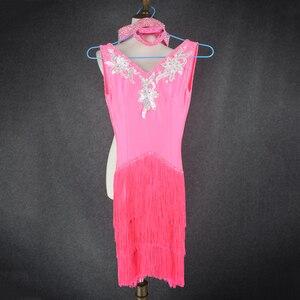 Image 4 - Donne Del Ricamo di lusso abbigliamento per la danza latino spandex pietre latino vestito da ballo della signora di ballo latino vestiti di prestazione delle ragazze del vestito