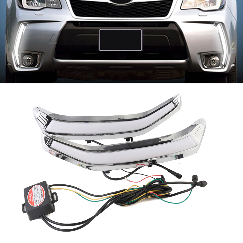 Auto Car LED Daytime Running Light Driving Lamp For Subaru Forester 2013-2015 Fog Day Light Yellow Turn Signal Free Shipping D35 boaosi 2x car led 9006 hb4 2835 66smd light bulb auto fog light driving lamp light for subaru wrx vs sti 2008 2013