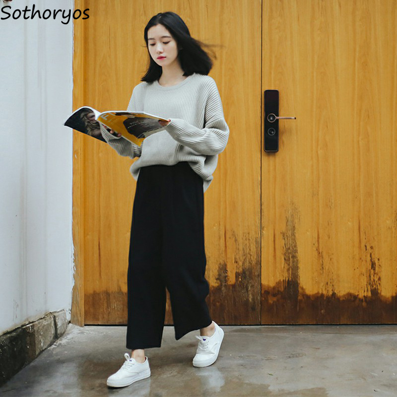 Pants   Women High Waist Solid Simple All-match   Wide     Leg     Pant   Korean BF Womens Ulzzang Trendy Loose Trousers Students Sweet Chic