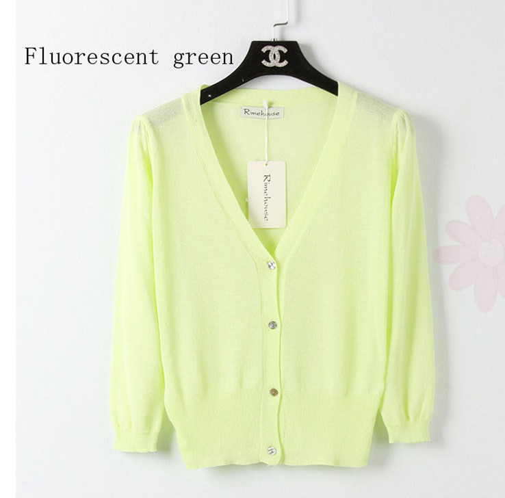 Aliexpress.com : Buy Free shipping 2017 Short paragraph candy ice cream  colored silk fabric sweater wild female shell button V neck cardigan summer  from ... - Aliexpress.com : Buy Free Shipping 2017 Short Paragraph Candy Ice