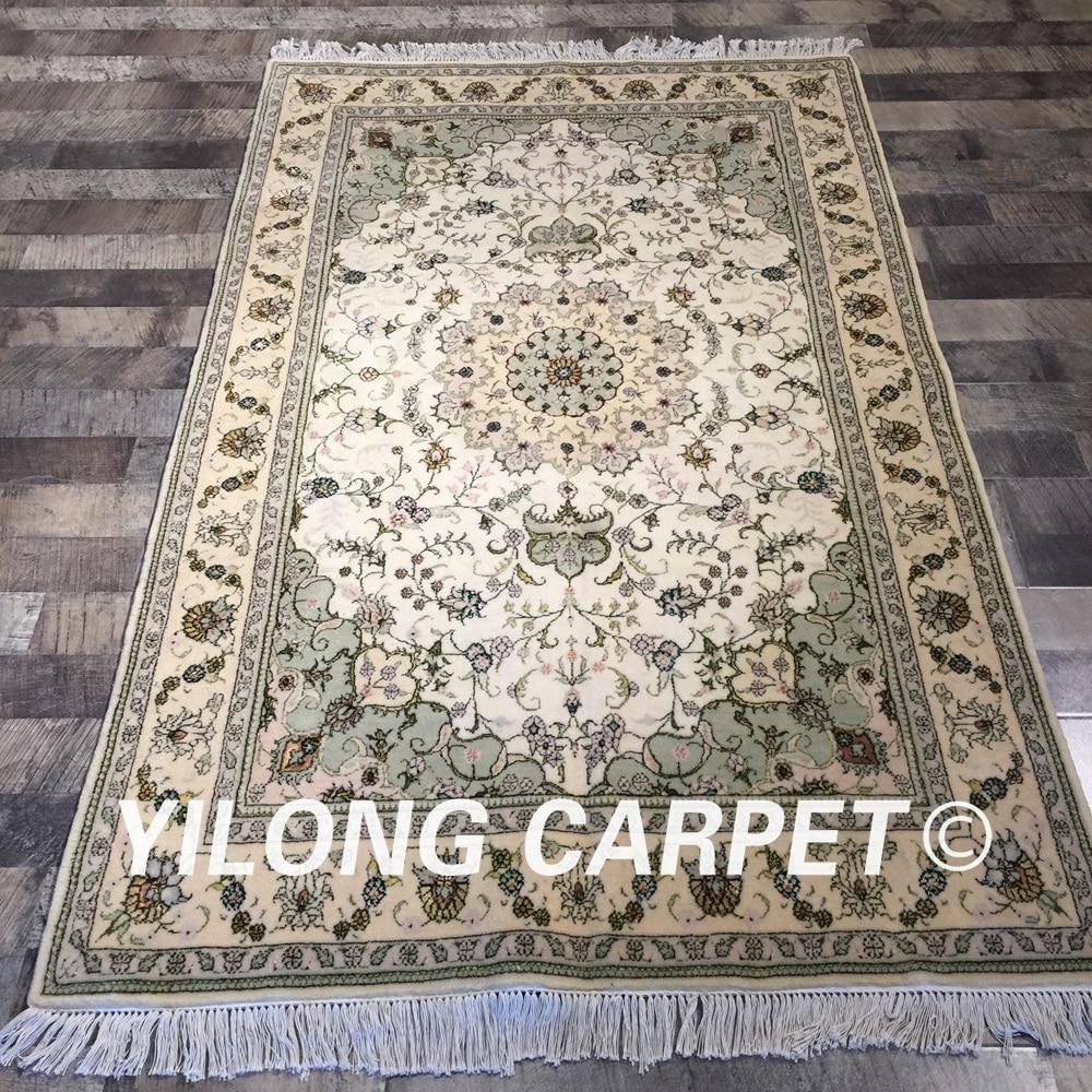 Yilong 4 X6 Handknotted Wool Silk Persian Oriental Home
