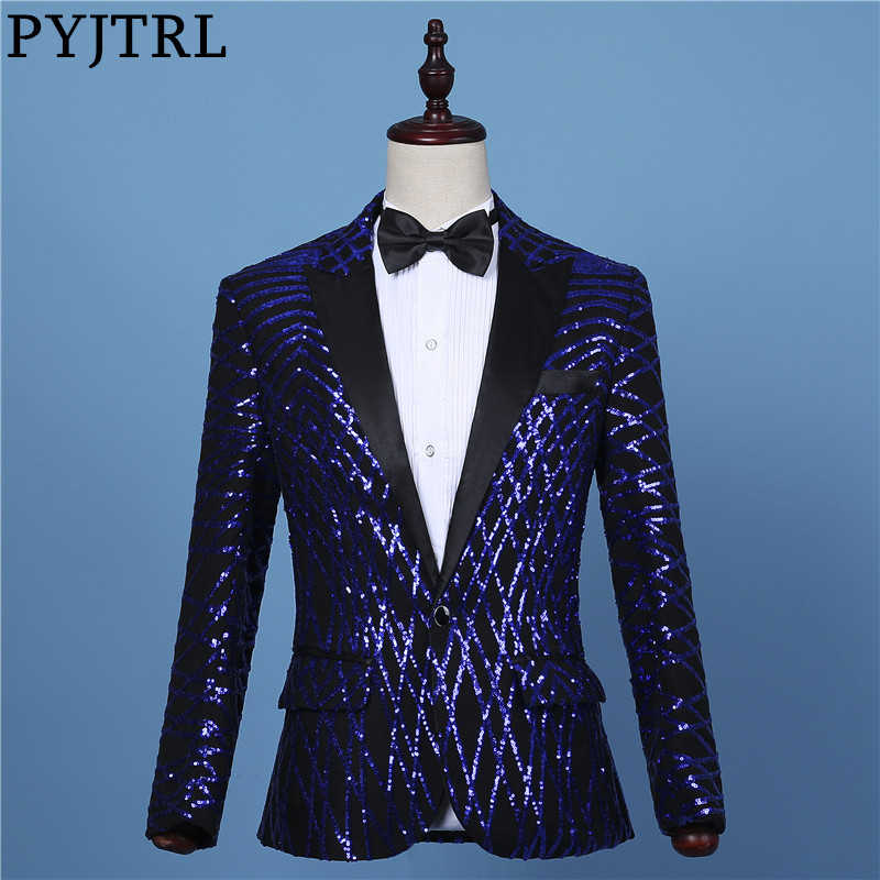 PYJTRL Mens Fashion Black Royal Blue Geometry Sequins Blazer Stage Show DJ Bar Singers Slim Fit Suit Jackets Prom Costume Coat