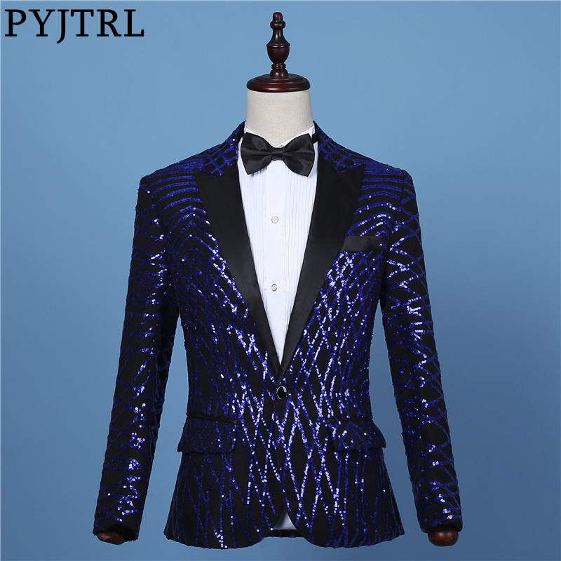 PYJTRL hommes mode noir bleu Royal géométrie paillettes Blazer scène spectacle DJ Bar chanteurs Slim Fit Costume vestes bal Costume manteau-in Blazers from Vêtements homme    1