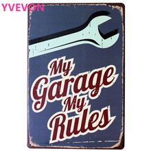My Garage My Rules Car Iron Sign Metal Decoration Vintage Tin Plaque Mechanic Modern Home Retro Plate Rectangle Poster 20x30cm