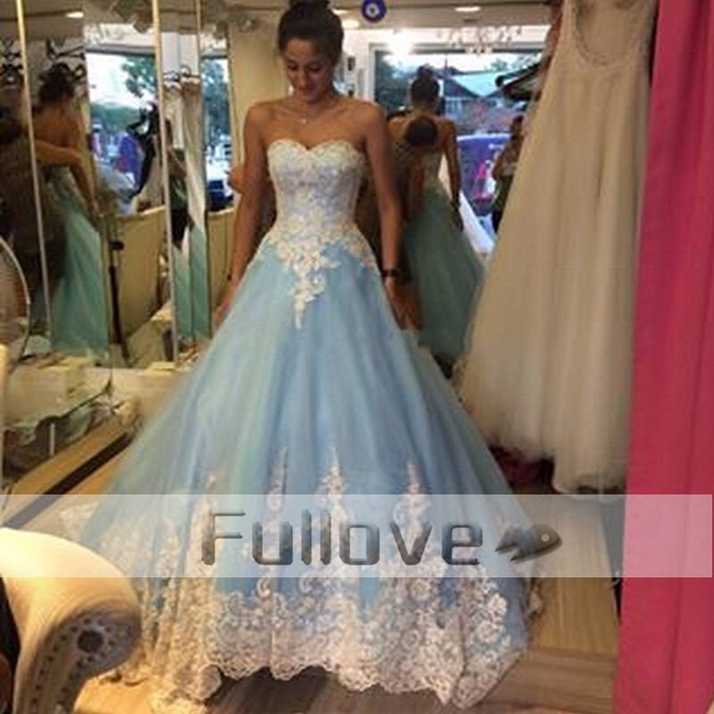 Exquise bleu ciel princesse robes De mariée 2019 chérie à lacets blanc Appliques a-ligne robe De mariée Vestido De Noiva Renda