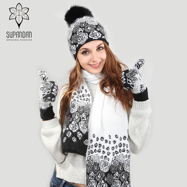 SUPANDAN Warm Knitted Scarf Hat Gloves Set Black White Thick Jacquard Scarf  Hat Fur Pom Pom Ski Cap Women Halloween Gift 8462TC1 04c28fcd1