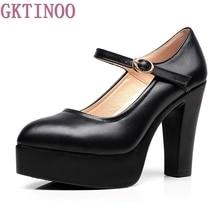 Новинка 2017 года женские натуральная кожа туфли на толстом каблуке Высокое качество классические черные и белые Туфли-лодочки для Офисная женская обувь
