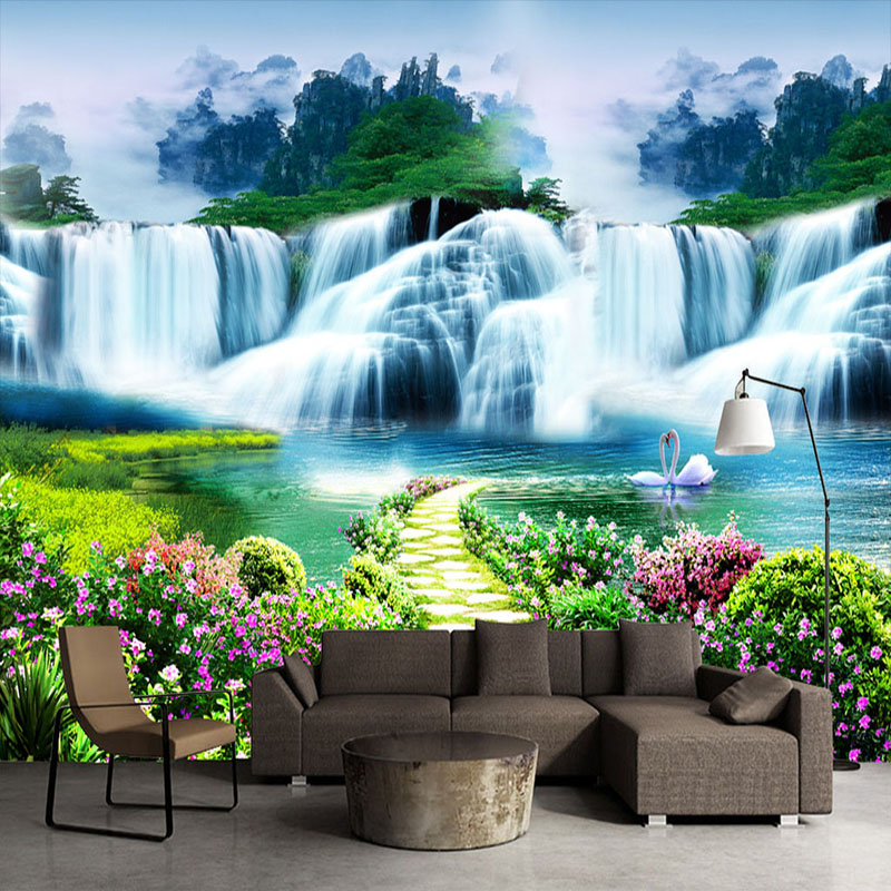 Custom 3D Wall Mural Classic Nature Scenery Waterfalls Photo Wallpaper Living Room TV Sofa Backdrop Wall Covering 3D Home Decor