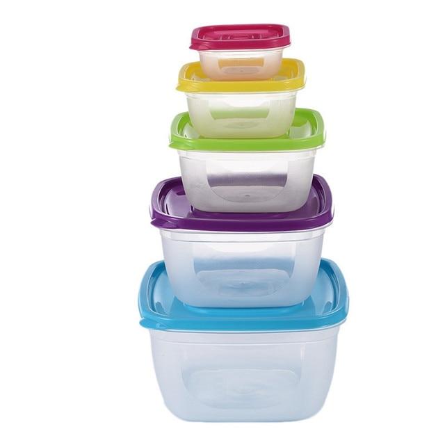 5Pcs/Set Sealed Square Round Crisper Refrigerator Plastic Rainbow Food Storage Boxes Preservation Box Container Kitchen Supplies