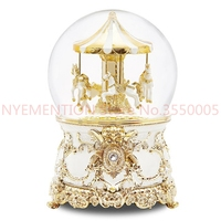 music Box Music box Crystal ball Carousel Send girls and children birthday gifts Snow creative 1PCS