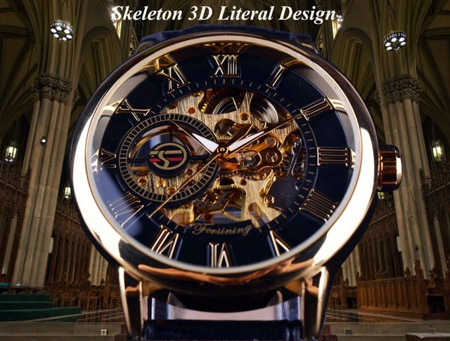 Men Watches Luxury Mechanical Skeleton Watch Black Golden 3D Literal Design Roman Number Black Dial