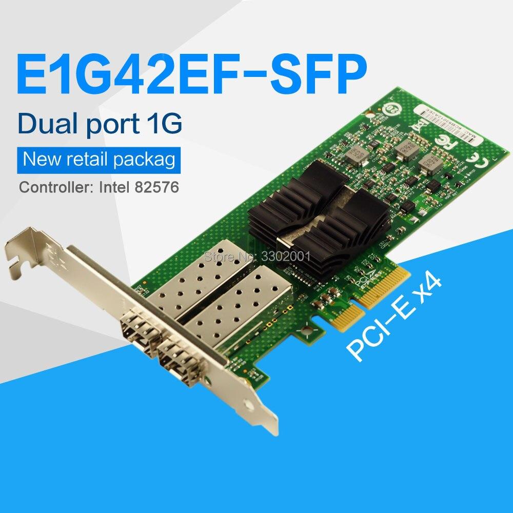 FANMI E1G42EF SFP Dual Port SFP PCI E X4 Fiber Server Adapter NIC intel 82576 Controller