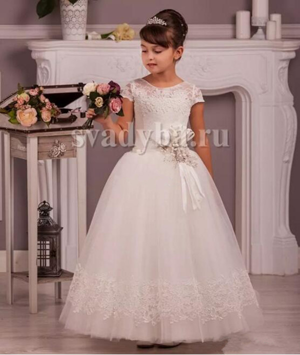 2017 Cheap Flower Girl Dresses Lace Cap Sleeves with Beaded Sash Jewel Neck Girls Party Birthday Gown First Communion Dress 2018 purple v neck bow pearls flower lace baby girls dresses for wedding beading sash first communion dress girl prom party gown