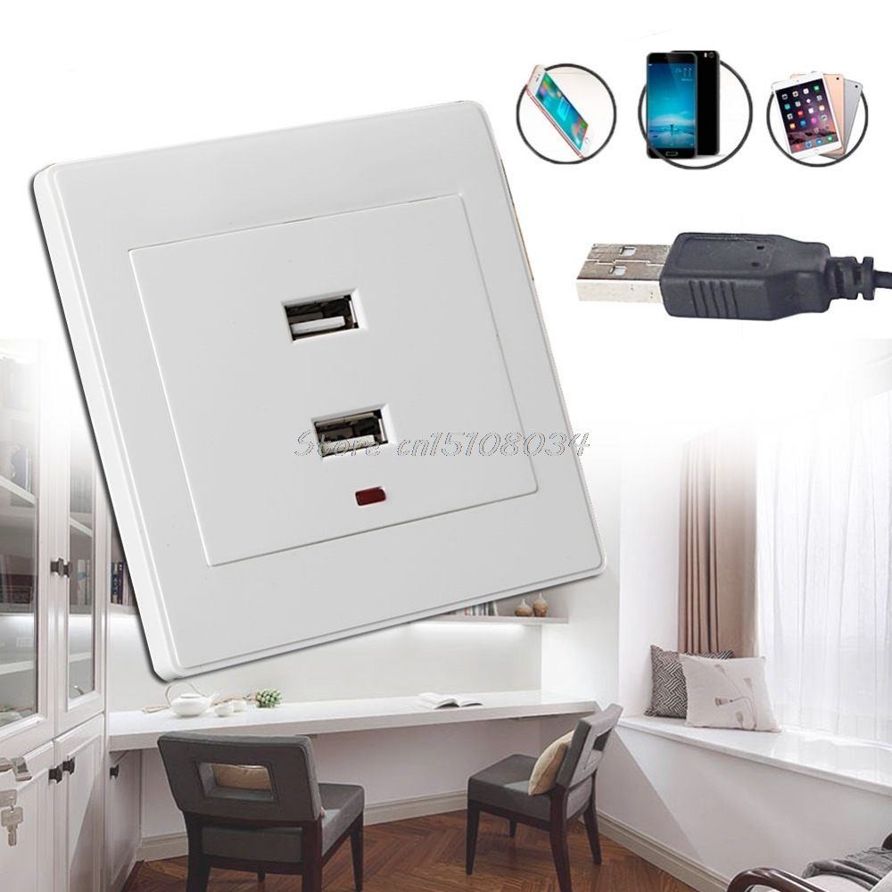 Dual Usb Wall Socket Charger Ac Dc Power Adapter Plug